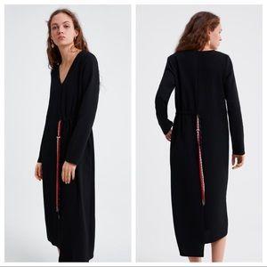 NWT. Zara Black V-neck Dress. Size S, M.
